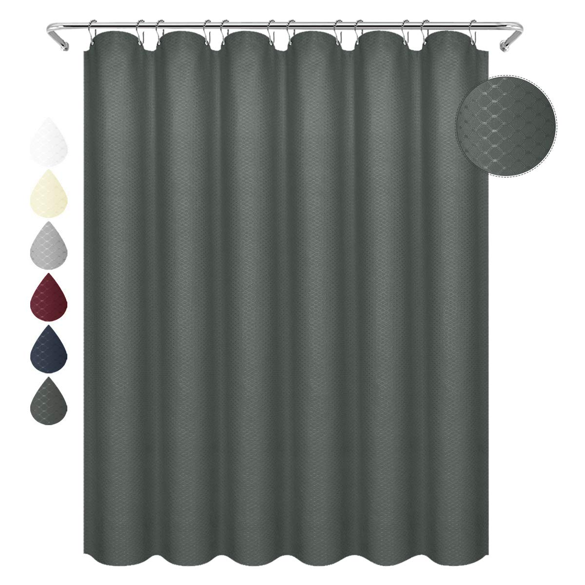 Eforgift Easy Clean 100 Polyester Shower Curtain Water Repellent Thickened Charcoal Waffle Weave Cloth Bathroom Curtain Long 72 Inch X 78 Inch Home Hotel Decor