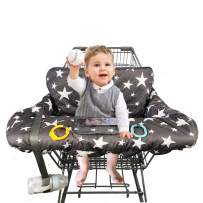 """Shopping Cart Cover for Baby, 100% Cotton Sitting Area, with Bottle Strap and 6.5"""" Cell Phone Holder Toddler 2-in-1 High Chair Cover Summer Grocery Cart Cushion for Boy or Girl Large Star Print"""