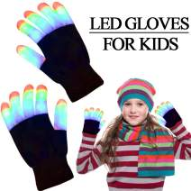 LED Gloves for Kids, Light Up Toys Flashing Gloves 3 Colors 6 Modes Finger Lights Gloves 2020 New Year Eve Glow In The Dark Party Supplies Christmas Party Favors for Boys Girls Teens (Ages 5-15)