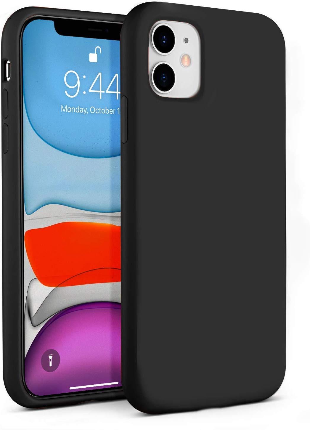 "IceSword iPhone 11 Case, Black iPhone 11 Silicone Case, Gel Rubber Full Body, iPhone 11 Cute iPhone 11 case, Soft Microfiber Cloth, 6.1"" iPhone 11 case Silicone, iPhone 11 case Cute - Black"