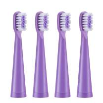 Vekkia Princess Kids Electric Toothbrush Replacement Heads - 7x More Plaque Removal, End-rounded 3D Curved Soft Bristles, Gentle & Efficient Clean Teeth, Perfect for Kid Small Mouth, Purple (4 Pack)