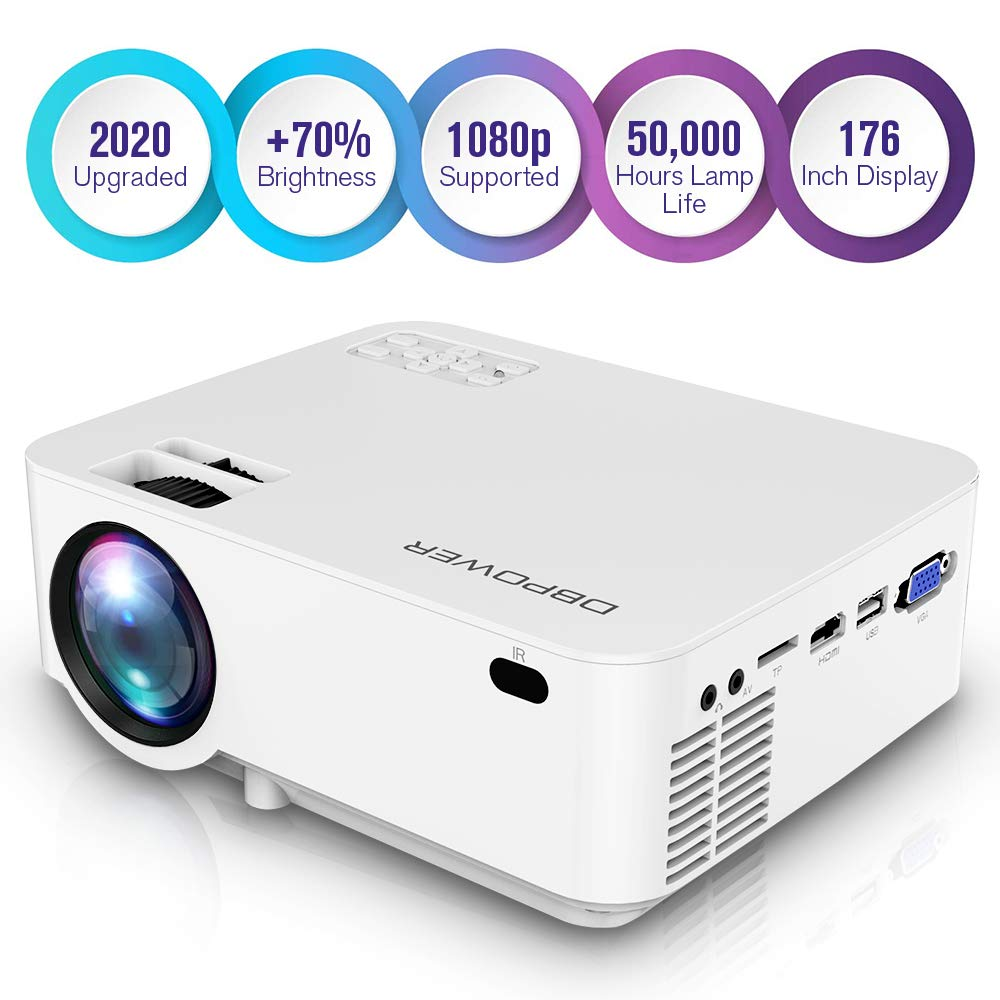 DBPOWER Upgraded Mini Projector, 176'' Display 3000L Full HD LED Movie Projector, 50,000 Hours Lamp Life Home Theater Video Projector with HDMI Cable, Support 1080P/USB/TF/VGA/AV/TV/Laptop/Phone/Game