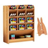Marbrasse Wooden Desk Organizer, Multi-Functional DIY Pen Holder Box, Desktop Stationary, Home Office Supply Storage Rack with Drawer (B12-Cherry Color)