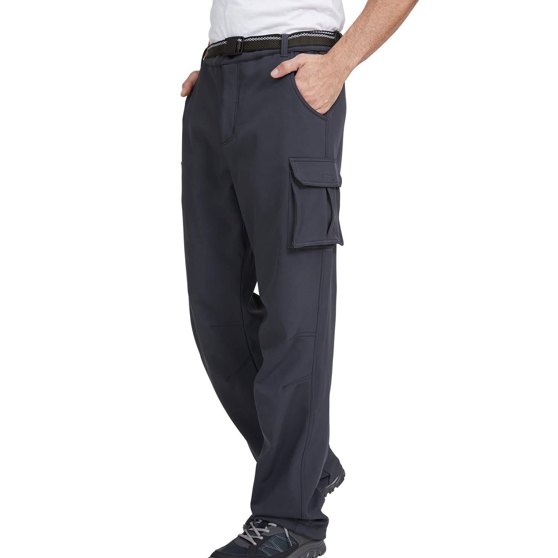 JOMLUN Men's Softshell Fleece Pants Waterproof Windproof for Outdoor Mountain Ski Hiking Hunting Insulated Trousers
