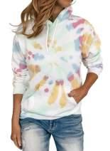 FIYOTE Womens Casual Tie Dye Hoodies Tops Long Sleeve Loose Drawstring Pullover Sweatshirt Blouses S-2XL