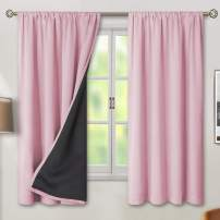 BGment Thermal Insulated 100% Blackout Curtains for Bedroom with Black Liner, Double Layer Full Room Darkening Noise Reducing Rod Pocket Curtain (52 x 63 Inch, Baby Pink, 2 Panels)