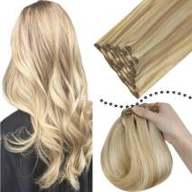 """Easyouth Silky Straight Clip in Human Hair Extensions 18"""" Piano Color Honey Blonde Highlights with Bleach Blonde (#27P613) Real Extensions Clip on Full Head Hair Extensions 7Pieces 100G for Women"""