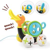 Push Pull Along Toy for Baby, Duck Whistles As Toddlers Pull It With Bead Coaster Developmental Toys For Ages 1-3 Years