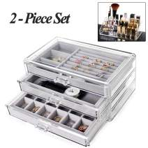 ZGWJ Jewelry Box 3 Drawers,Acrylic Jewelry Organizer,Makeup Cosmetic Storage Organizer,Two Pieces Set Jewelry Case for Earring Bangle Bracelet Necklace and Rings Storage