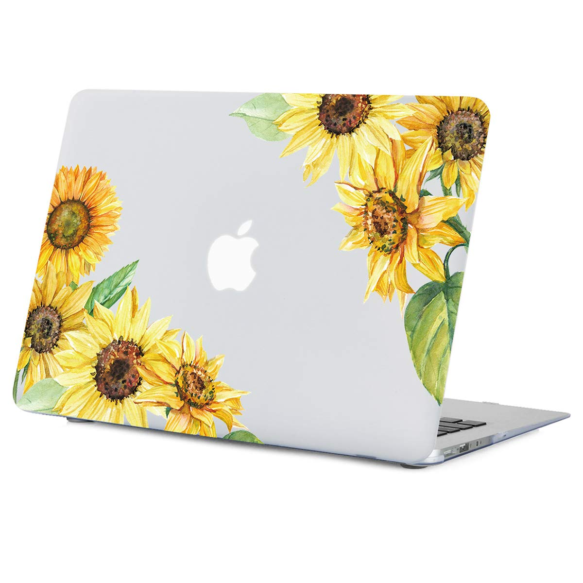Old Version MacBook Air 13.3 inch Case Sunflower, Yellow Flower Clear Case, Rubberized Soft-Touch Hard Shell Case with Keyboard Cover Model A1466/A1369 Year 2010-2017