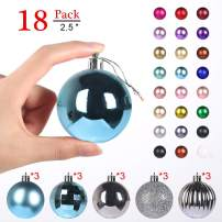 """GameXcel Christmas Balls Ornaments for Xmas Tree - Shatterproof Christmas Tree Decorations Large Hanging Ball Sky Blue 2.5"""" x 18 Pack"""