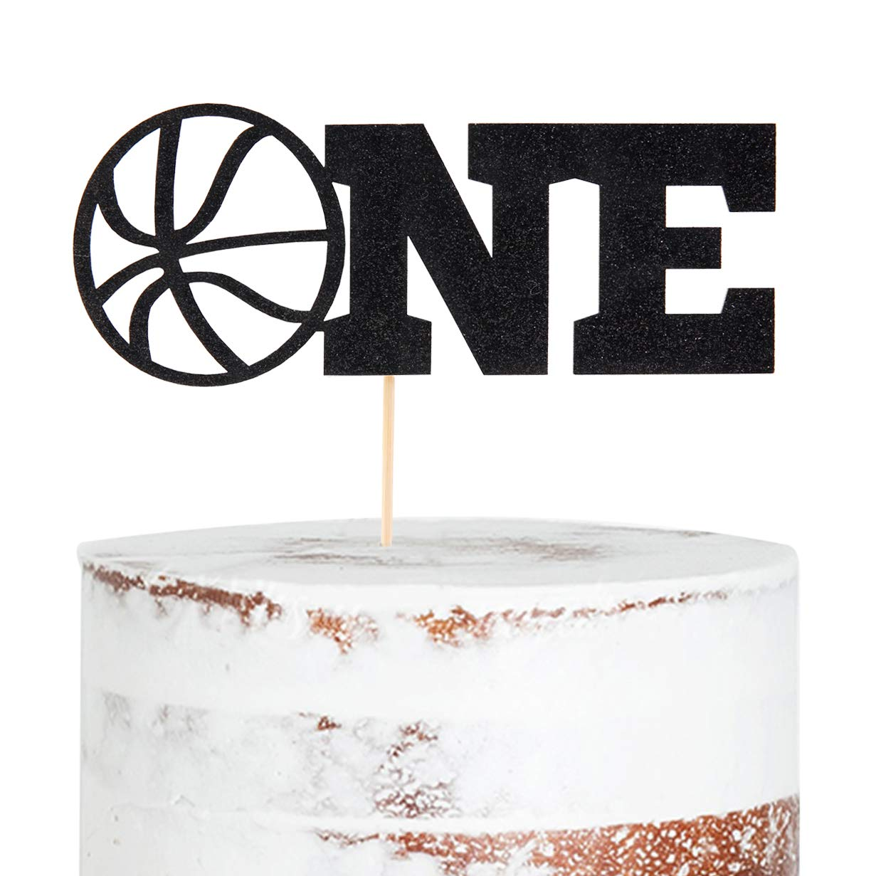 WAOUH Basketball ONE Cake Topper - Golden Glitter Cake Topper for Birthday Party, Cake Decoration for Personalized, Photo Booth Props, Basketball Sign Cake Flag(Black)