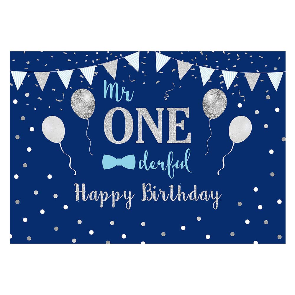 Funnytree 7x5ft Baby Boy 1st Birthday Party Backdrop Mr Onederful First Blue and Silver Photography Background Little Man Bow Tie Newborn Cake Table Decorations Photoshoot Banner Photo Booth Props