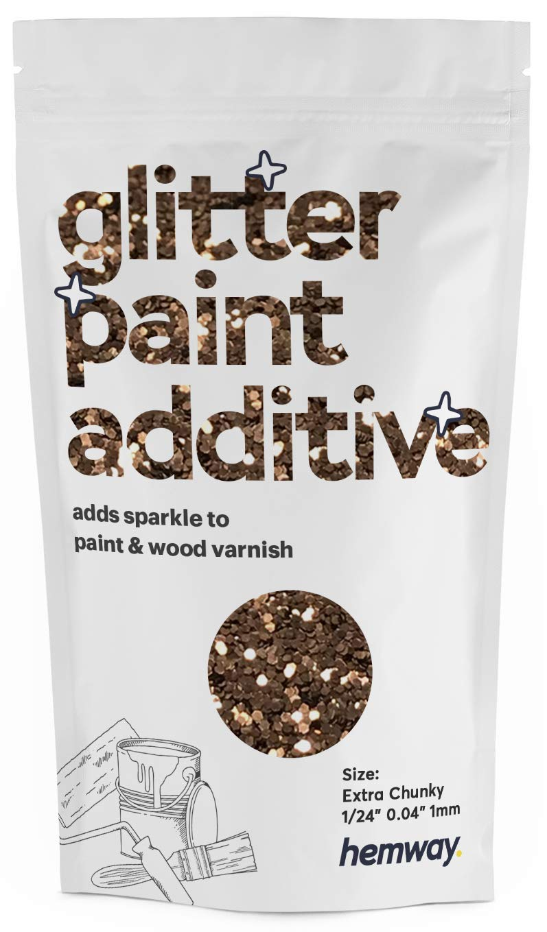 """Hemway Glitter Paint Additive Extra Chunky 1/24"""" 0.040"""" 1MM Emulsion Water Based Paints Wall Ceiling 100g / 3.5oz (Bronze)"""