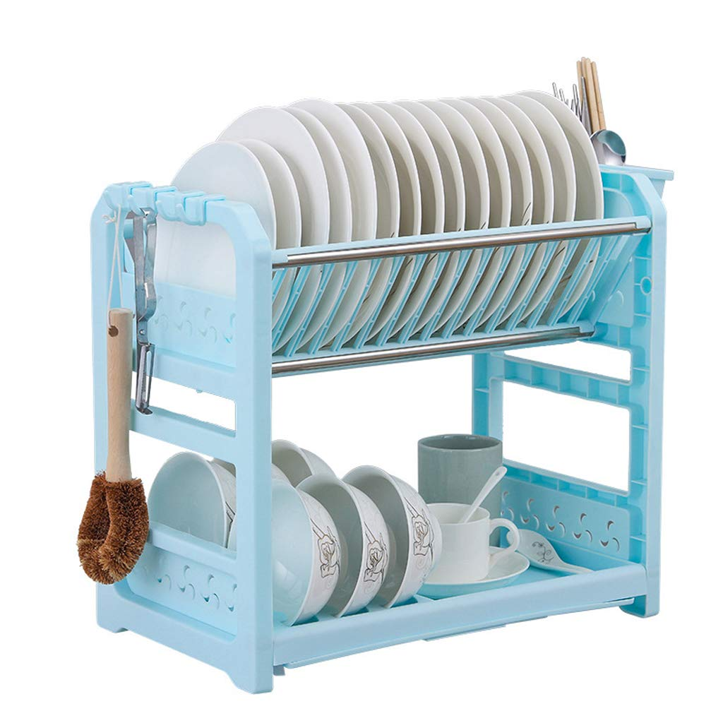 2 Tier Dish Drying Rack Dinnerware Holder Set - Plastic Classic Dish Rack Kitchen Organization Shelf