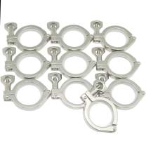 """QiiMii 13MHHM Stainless Steel 304 Single Pin Heavy Duty Tri Clamp with Wing Nut for Ferrule TC 2""""(10 Pack) (2 Inch)"""