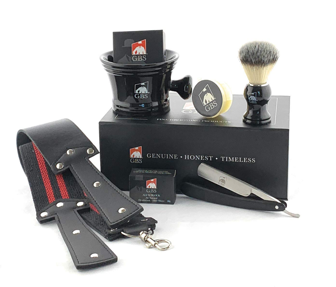 """GBS""""Shave Ready"""" Wood Straight Razor + Complete Beard/Shaving Set - Gift Box - Mug, Natural Soap, Brush, Alum block, Strop and Paste! For the Ultimate Old Fashioned Wet Shaving Experience"""
