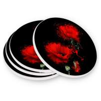 visesunny Cool Red Poppy Floral Drink Coaster Moisture Absorbing Stone Coasters with Cork Base Cup Mats Protect Furniture from Spill, Scratchs, Water Rings&Damage, 4 Pieces