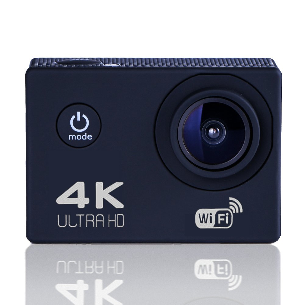 Sports Camera Sports Video 4K WiFi Action Cam 12 MP Underwater Camcorder HD 1080P and 2 Batteries 170° Wide-Angle Black