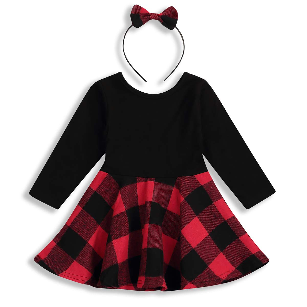 Infant Toddler Baby Girls Clothes Long Sleeve Plaid Dress with Bowknot Headband Princess Skirt Outfit Set