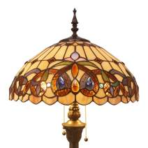 Tiffany Style Floor Standing Lamp 64 Inch Tall Stained Glass Serenity Victorian Shade 2 Light Antique Base for Bedroom Living Room Reading Lighting Table S021 WERFACTORY