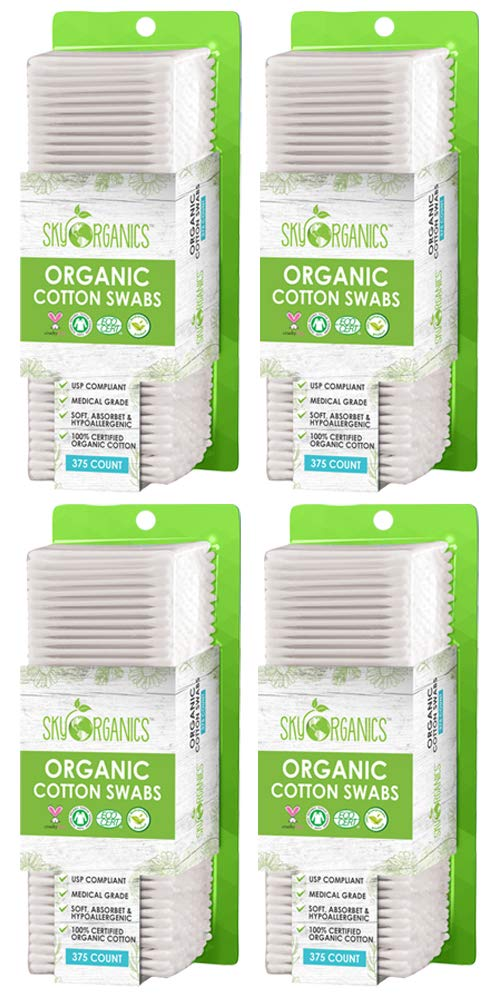 Organic Cotton Swabs by Sky Organics (1500 ct.) Natural Cotton Buds, Cruelty-Free Cotton Swabs, Biodegradable, All Natural Cotton Swabs, Chlorine-Free Hypoallergenic Cotton Swabs (4 Pack x375 CT)