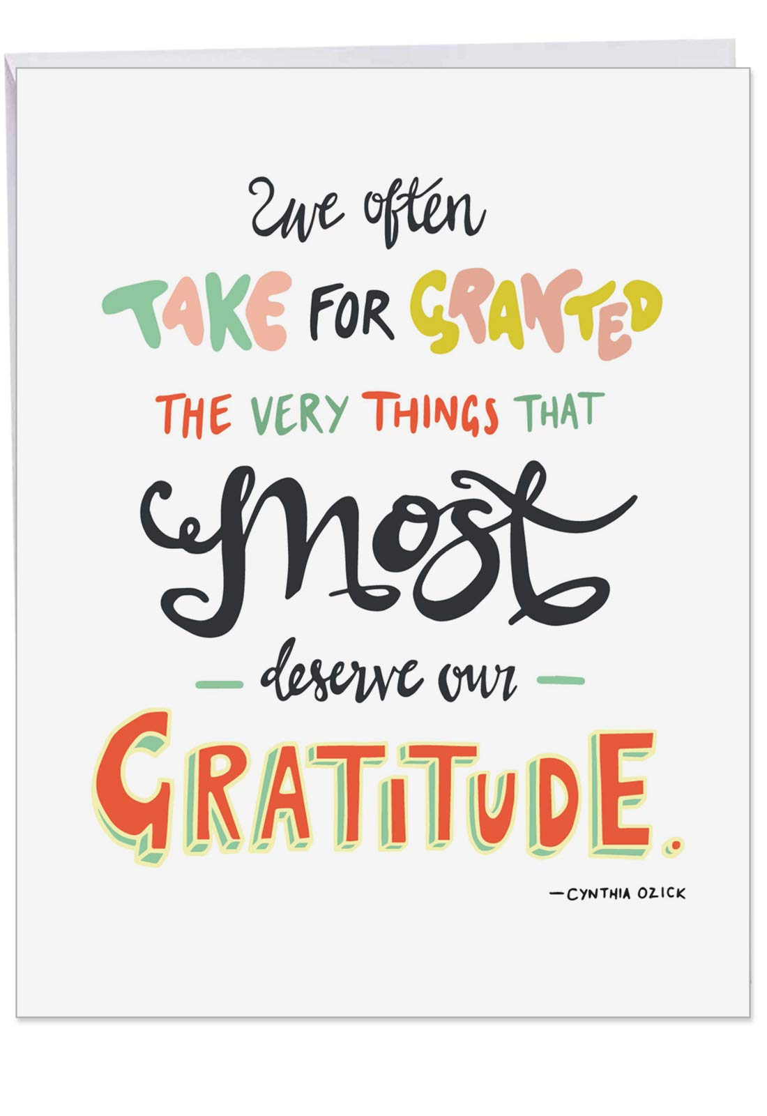 Take for Granted - Appreciation Thank You Card with Envelope (Big 8.5 x 11 Inch) - Words of Gratitude, Thanks Quote - Large Greeting Stationery Notecard for Thank Yous J9633ETYG