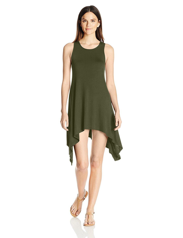 Women's Summer Casual Scoop Neck Sleeveless Wavy Mini Tunic Top Tee TShirt Dress
