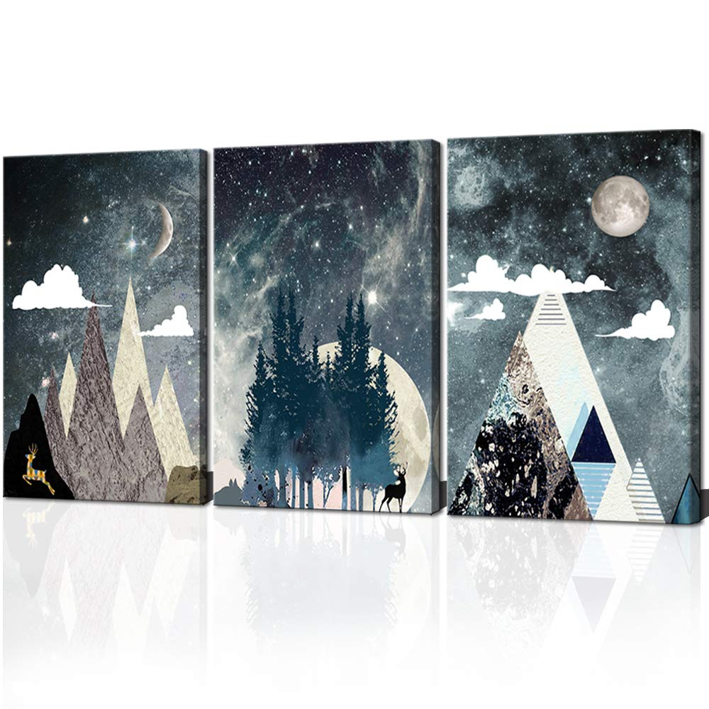 ARTSPIRIT Canvas Wall Art for Living Room Landscape Painting Space Star Sky Picture Abstract Mountain Canvas Print for Office Home Decor 3 Panels