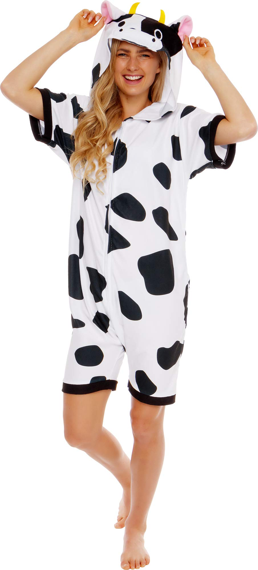 Silver Lilly Cow Short Sleeve Animal Pajamas - Plush Adult One Piece Summer Cosplay Costume