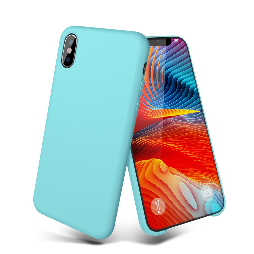 iPhone X Case, iPhone 10 Case, MeanLove Silicone Gel Rubber Case with Soft Microfiber Cloth Lining Cushion for iPhone X (Blue iPhone x Accessories)