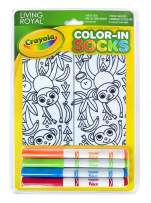 Living Royal Crayola Kid's Color-in Socks - Includes 1 Pair of Socks and 4 Fabric Markers (Monkey Craze)