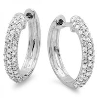 0.50 Carat (ctw) Round White Diamond Ladies Huggies Hoop Earrings