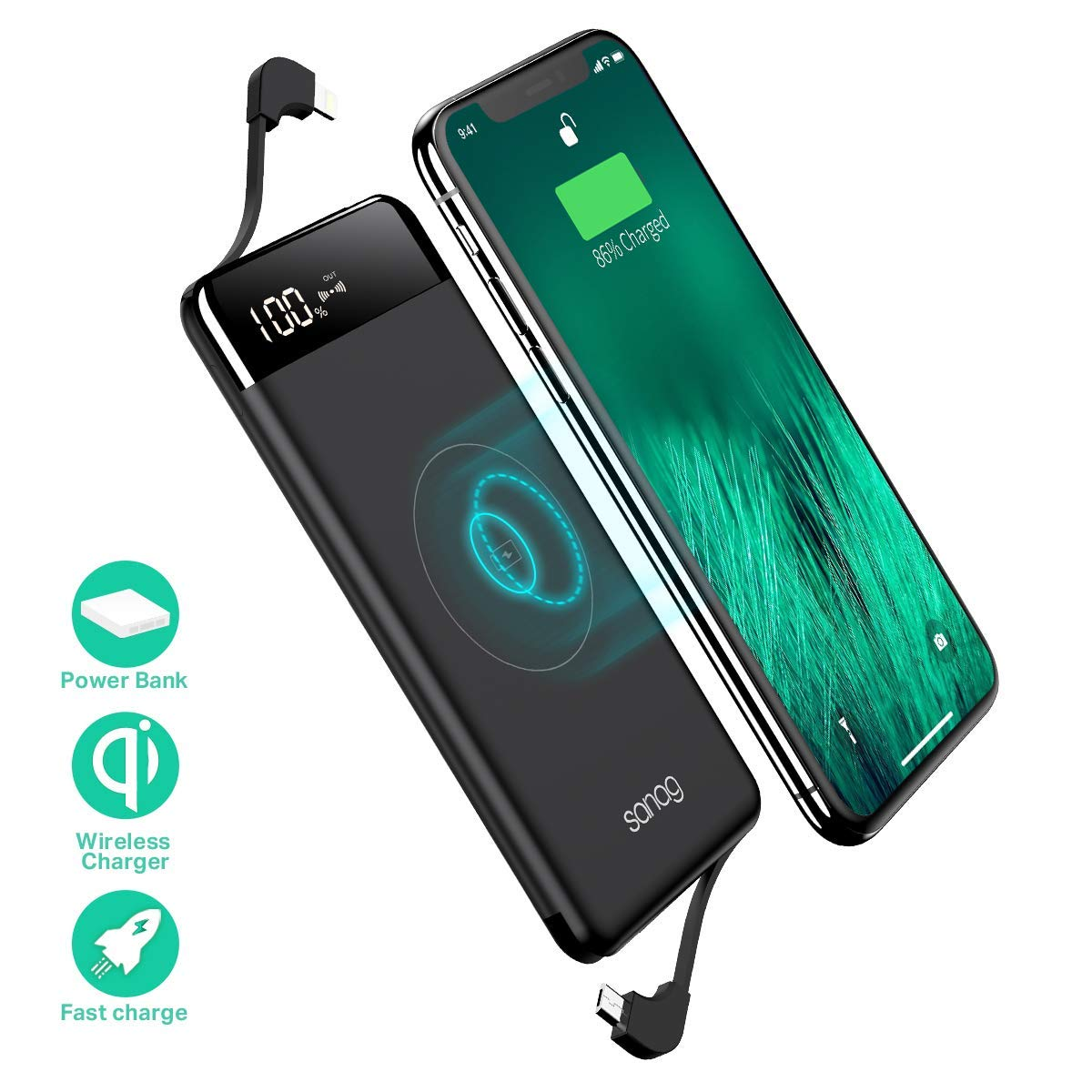 Wireless Portable Charger,Portable Charger,SANAG 10000mAh Wireless Battery Pack with Micro USB to Type-C Adaptor QC 2.0 Ports and LED Displaly,Built in Cables for iPhone,iPad,Samsung and More