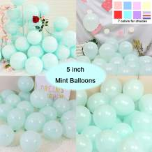 Party Pastel Balloons 200 pcs 5 inch Macaron Candy Colored Latex Balloons for Birthday Wedding Engagement Anniversary Christmas Festival Picnic or any Friends & Family Party Decorations-Mint Green