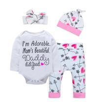 Baby Girl Clothes Summer Cute Letter Romper + Arrow Heart Pants + Headband + Hat Newborn Girls Outfits 4pcs