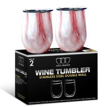 2 Pack Stainless Steel Wine Glass Tumbler with Lid, 12 oz Double Wall Vacuum Insulated Travel Tumbler Cup, Coffee Water Bottle Cup (Pattern: Primrose Marble)