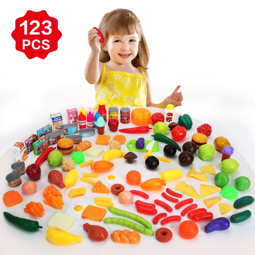 BeebeeRun 123 Pieces Play Food Set,Kitchen Pretend Food Toy with Plastic Vegetable Fruits and Fast Food Etc,Great Role-Play Food Gift for Toddlers Boys and Girls Age 3+