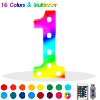 16 Color Changing Marquee Letter Light,Light Up Colorful 26 Alphabet Signs – Home Decor Name Signs – Battery Operated LED Remote Timer – Lighted Vintage Accessories & Decorations 1