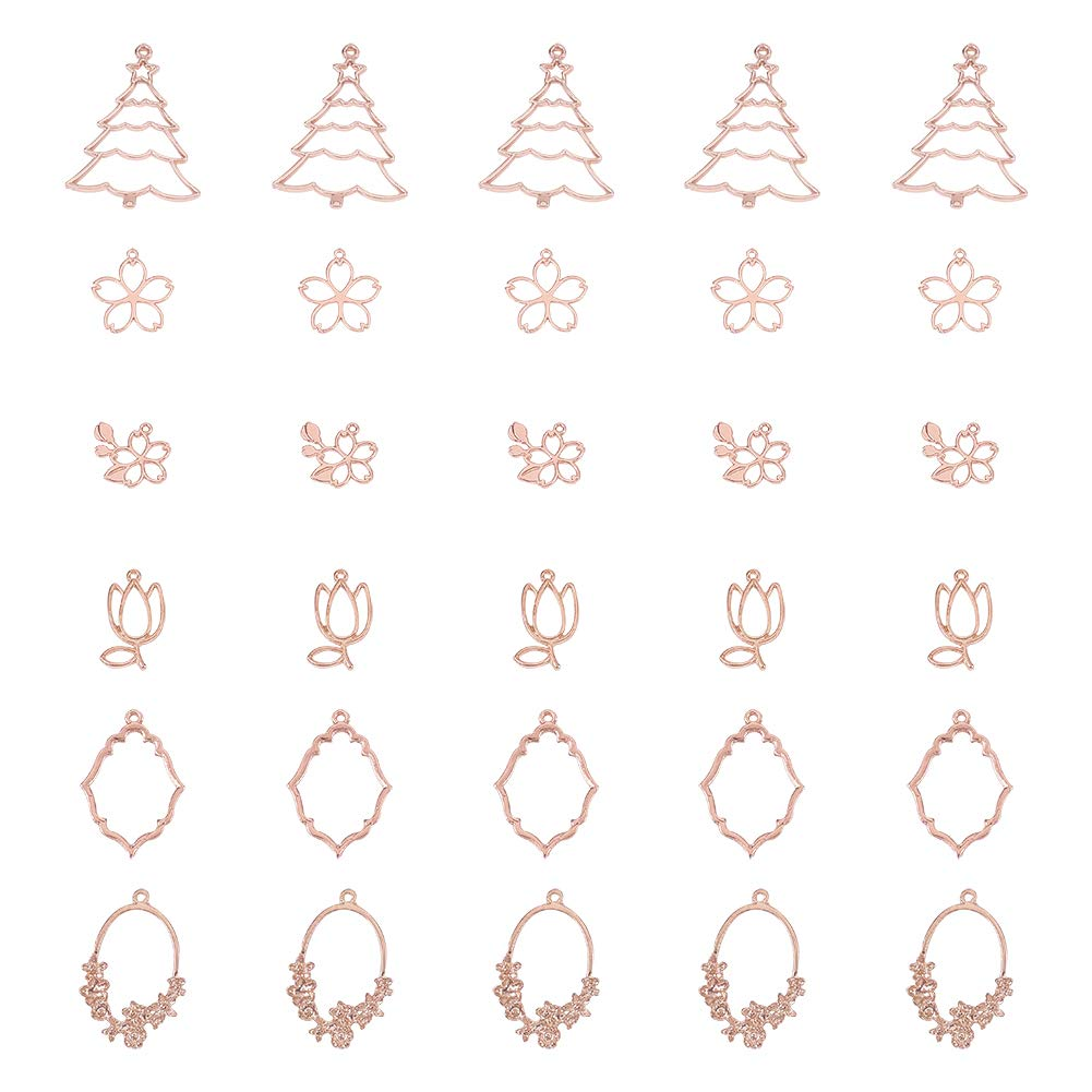 OLYCRAFT 30pcs Plant Theme Open Bezel Charms 6-Style Alloy Frame Pendants Color-Lasting Hollow Resin Frames with Loop for Resin Jewelry Making - Rose Gold