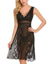Bargburm Sexy Nightgown ingerie for Women V Neck Lace Babydoll Mesh Chemise
