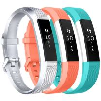 Vancle for Fitbit Alta HR/Ace Bands and Alta Bands, Adjustable Replacement Accessories Wristbands for Fitbit Ace/Alta and Alta HR, Silver Coral Teal, Large