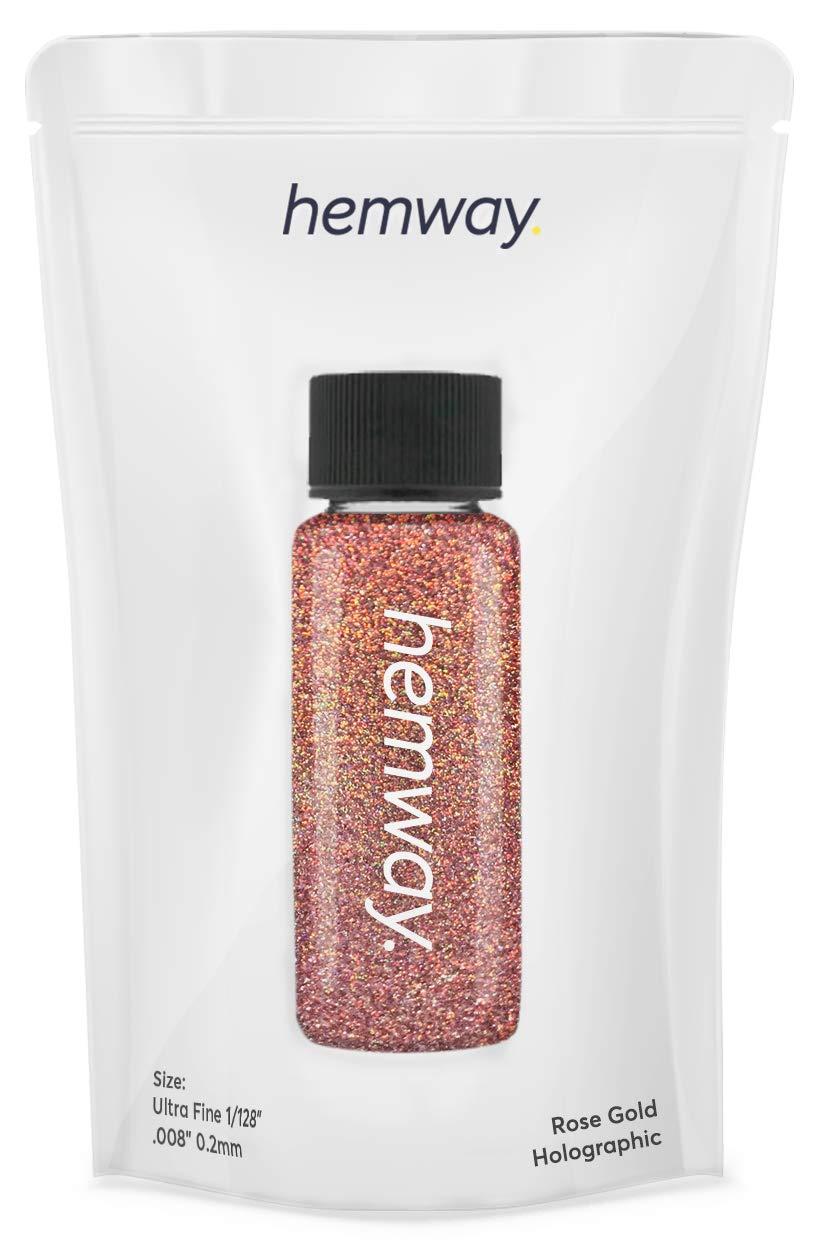 "Hemway Glitter Tube Ultra Fine 1/128"" Premium Sparkle Gel Nail Dust Art Powder Makeup Pigment Eyeshadow Face Body Eye Cosmetic Safe - 12.8g / 0.45oz (Rose Gold Holographic)"