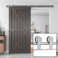 "WINSOON 6FT Sliding Barn Door Hardware Kit Stainless Steel, Top Mount, Single Rail, Super Smoothl and Quietl, Easy to Install, Fit Max 36"" Door"