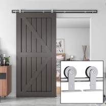 """WINSOON 12FT Sliding Barn Door Hardware Kit Stainless Steel, Top Mount, Heavy Duty, Super Smoothl and Quietl, Easy to Install, Fit Max 72"""" Door"""