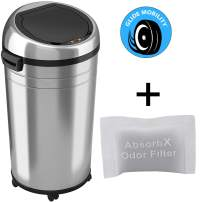 iTouchless 23 Gallon Commercial Size Sensor Trash Can with AbsorbX Odor Control System, Touchless Garbage Bin, Stainless Steel Round