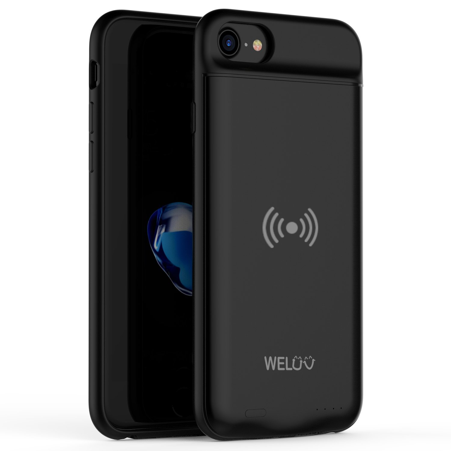 """WELUV for iPhone 8 Plus 7 Plus 6s Plus 6 Plus Wireless Battery Case 4000mAh Ultra Slim Rechargeable Cover QI Standard Wireless Charging Extended Backup Protective Shell 5.5"""""""