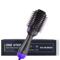 Hot Air Brush Styler and Dryer 3-in-1Negative Ions Hair Dryer One Step Hair Brush for Men/Women Anti-Frizz Reduce Static (Purple)