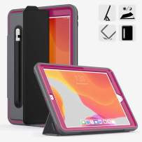 DUNNO New 10.2 Case 2019, Hybrid Leather Three Layer Heavy Duty Smart Cover with Auto Sleep/Wake Pencil Holder Stand Feature Design for iPad 7th Gen 10.2 Inch 2019 (Gray/Rose)