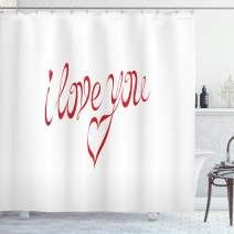 """Ambesonne I Love You Shower Curtain, Swirling Letter Fonts in Red Color with Heart Shaped Dots Calligraphy Design, Cloth Fabric Bathroom Decor Set with Hooks, 75"""" Long, White Red"""